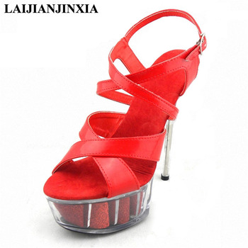 LAIJIANJINXIA New Women 15cm High Heels Platform Sexy Strap Sandals Night Club Party Dancing Shoes Open Toe Pole Dance Shoes