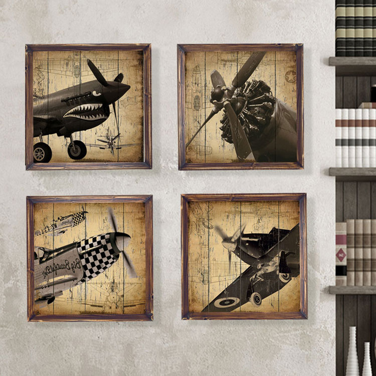 Retro fighter mural paintings framed european style living for Decorative mural painting