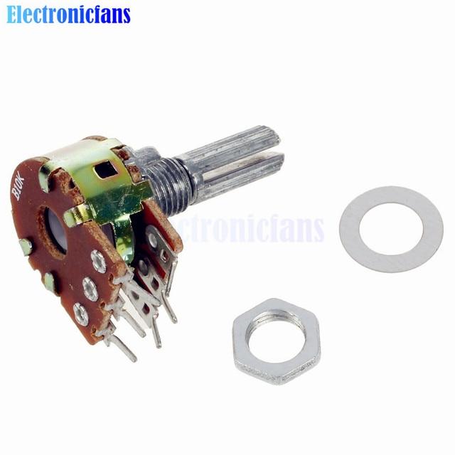 5pcs lot b10k 10k ohm potentiometer 6 pins split shaft rotary linear rh aliexpress com stereo potentiometer circuit Stereo Balance Potentiometer