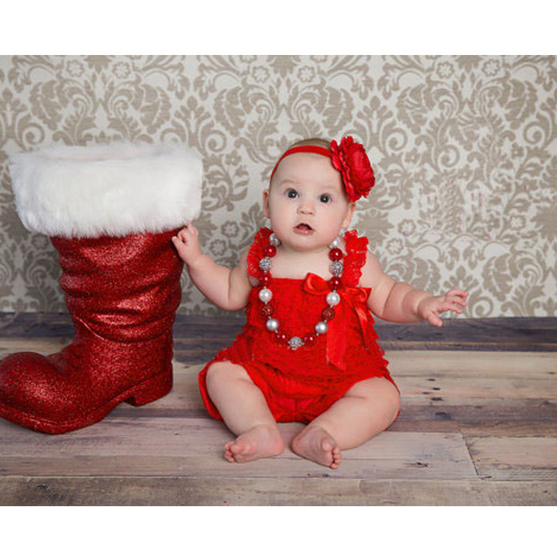 Christmas   Romper   Red Lace Petti   Romper   Baby Girl Clothes Newborn Infant Lace Jumpsuit Toddler Christmas Outfit