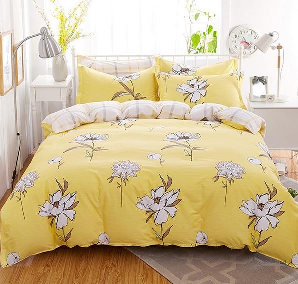 2016 New Design 100 Cotton Yellow Floral Cozy Bedding Set
