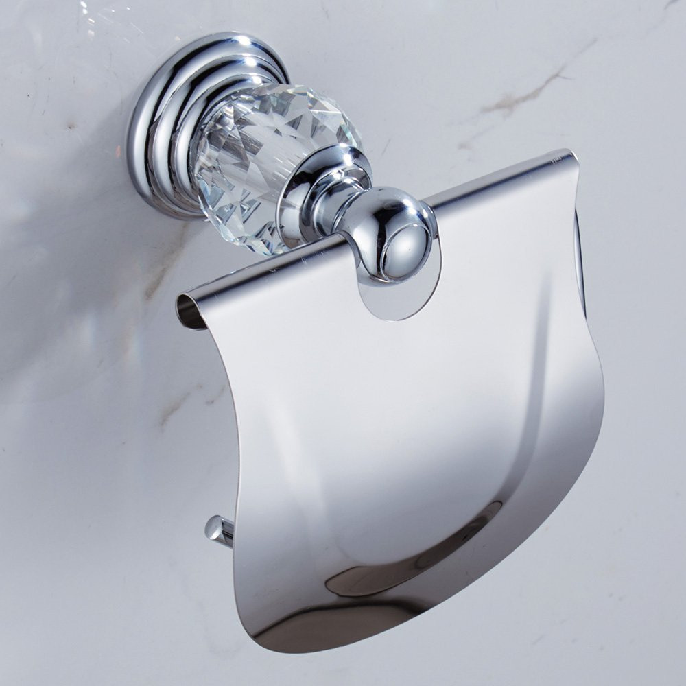 Leyden Bathroom Chrome Zinc Alloy And Crystal Silver Wall Mounted Toilet Paper Holder For Roll Accessories In Holders From Home