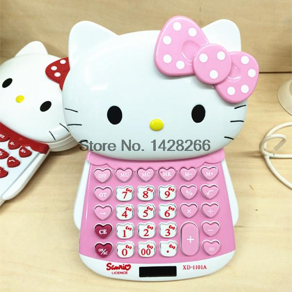 Hello Kitty Electronic Calculator Office School Mini Cute Calculating Dual Solar Power Calculadora As Gift