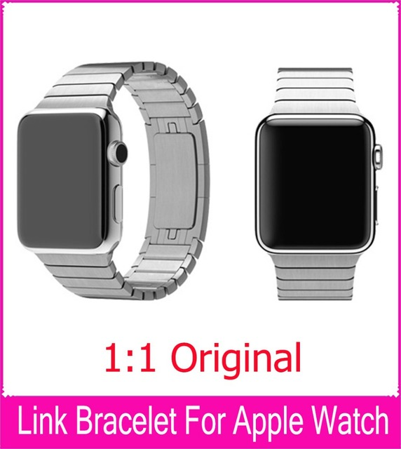 Black Silver Link Bracelet Band For Apple Watch 42mm 38mm Stainless Steel Strap With 1:1 Butterfly Closure As Original Watchband