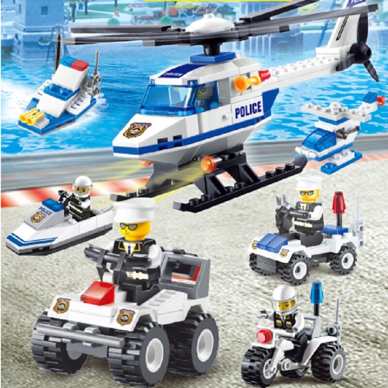 2017 New Children Blocks Toys Bricks City Police Helicopter Blocks Car Construction Fire Control Models Building Blocks for Kids city series police car motorcycle building blocks policeman models toys for children boy gifts compatible with legoeinglys 26014