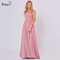 Dressv Peach Long Evening Dress Cheap Scoop Sleeveless A Line Zipper Up Wedding Party Formal Dress
