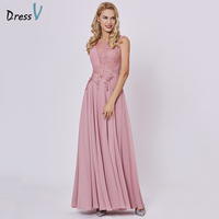 Dressv Peach Long Evening Dress Cheap Scoop Sleeveless A Line Zipper Up Wedding Party Formal Dress