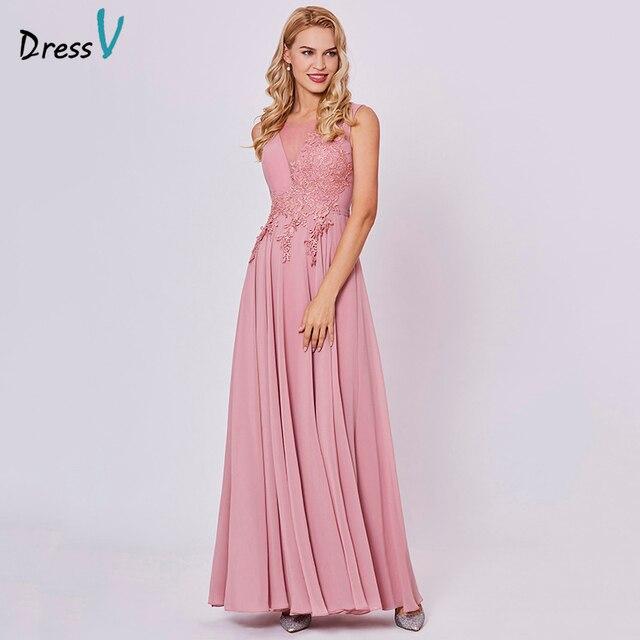 Dressv peach long evening dress cheap scoop sleeveless a line zipper up wedding party formal dress appliques evening dresses