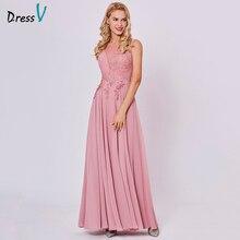 Vestido largo de noche Dressv peach, barato, con cuello redondo, sin mangas, línea a, con cremallera, para fiesta de boda, vestidos apliques de noche