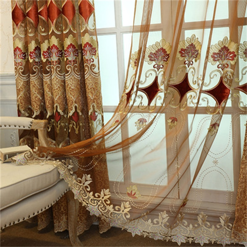European Thick Chenille Embroidery Curtains For Living Room Bedroom Luxury Semi Shading Coffee Curtain Royal Home Decor WP328#3
