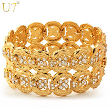 U7 Big Size Chain Bracelets Bangles Unisex WomenMen Jewelry Trendy Gold/Silver Color Rhinestone 33 MM Wide Bracelet H498(China)