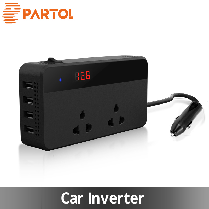 Partol Multifunctional Car Inverter Auto Inverter 12v To 220W 220v 50Hz 12 220 Cigarette Lighter Plug Power Converter With 4 USB 1 to 3 cigarette lighter power spliter with usb output black