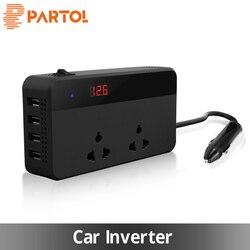 Partol Multifunctional Car Inverter Auto Inverter 12v To 220W 220v 50Hz 12 220 Cigarette Lighter Plug Power Converter With 4 USB