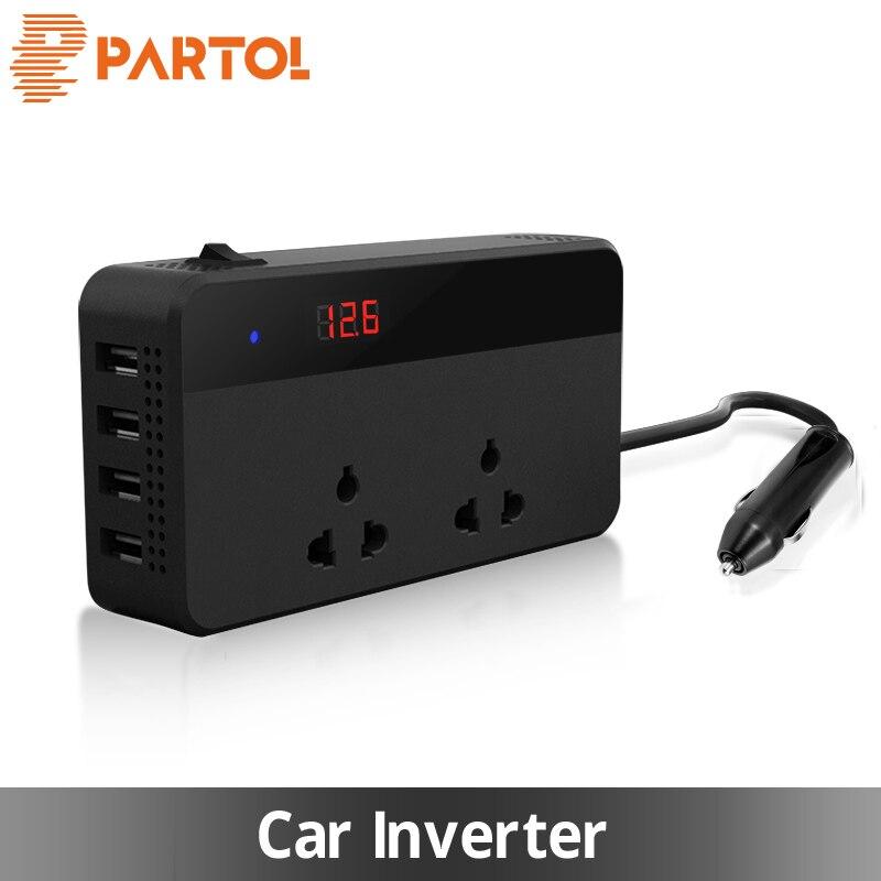 Partol Multifunzionale Auto Inverter Auto Inverter 12 v Per 220 w 220 v 50 hz 12 220 Sigaretta Presa Accendisigari convertitore di potenza Con 4 USB