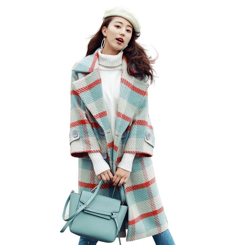 women's coat 2018 new hot sale winter Korean long section loose wool jacket coat Fashion knee Plaid woolen coat