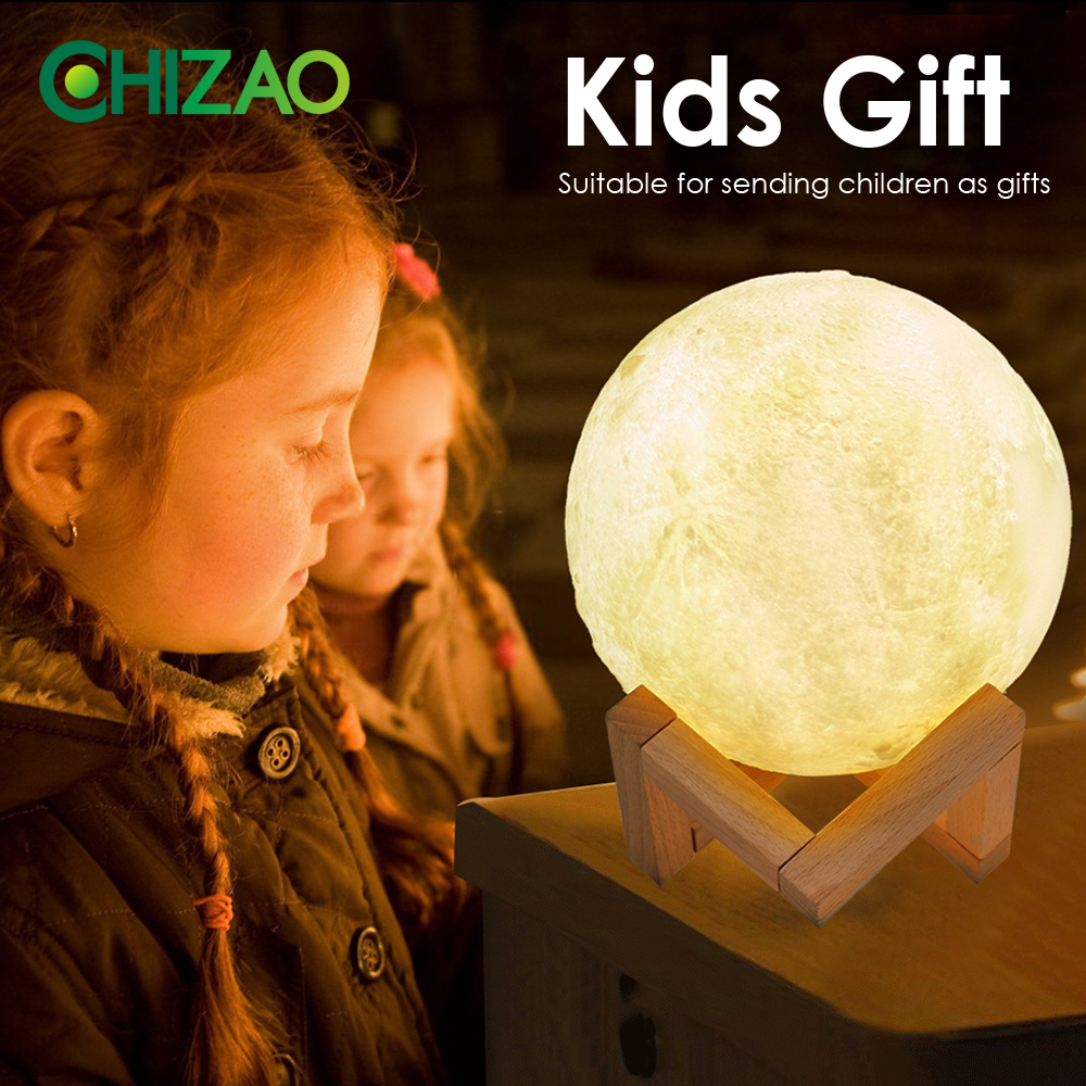 Image 4 - CHIZAO 3D Print LED Lamp Moon Earth Jupiter Home Bedroom Decor Creative Mood Night Light USB Recharge Touch Pat Control Colorful-in LED Night Lights from Lights & Lighting