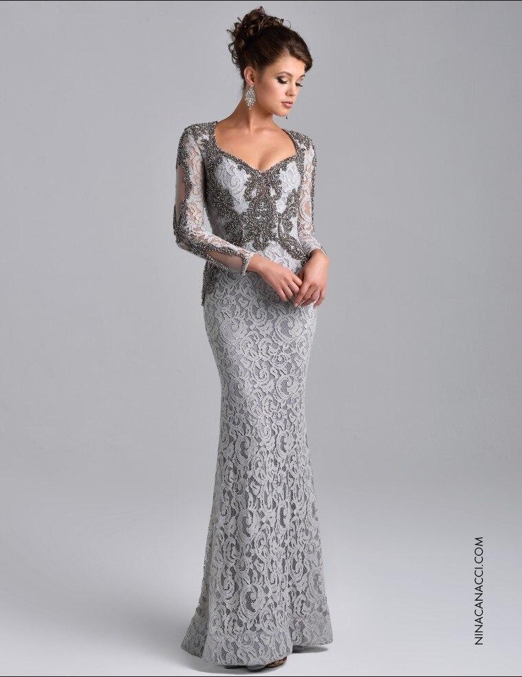 vestidos de noche formales de manga larga elegantes con cuentas de