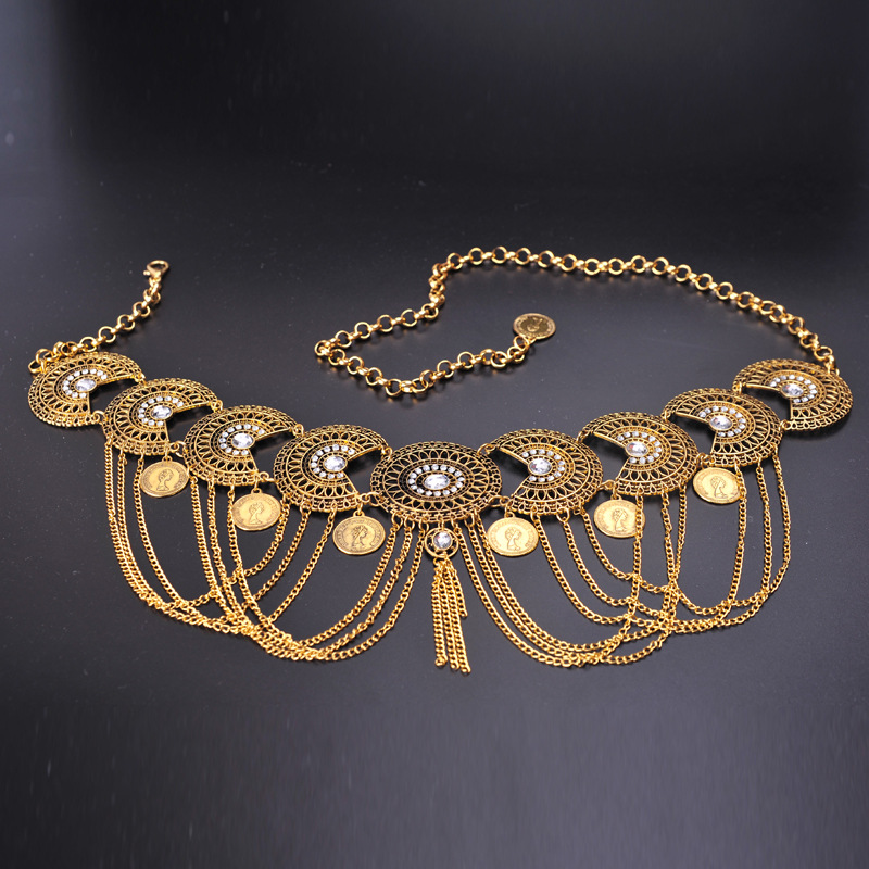 2019 Women Belly Dance Accessories Golden Waist Belt Belly Chain Jewelry Body Chain With Fringes