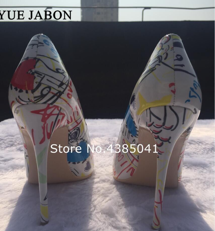Blanc 2 Parti Talons Mariage 1 Chaussures Graffiti Sexy Femme picture picture Printemps Hauts Nouvelle Stiletto 2019 Automne 3 Femmes Arrivée Picture Coloré Pompes De qvIw6H1