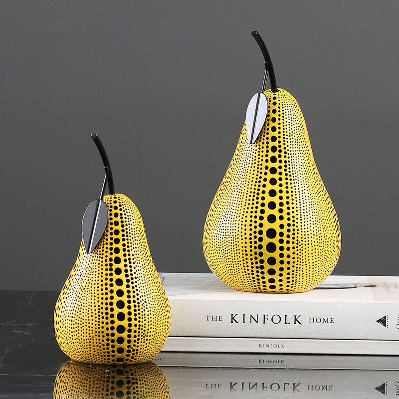 Modern Simple Style Yellow Apple Pear Resin Statue Creativity Desktop Crafts Sculpture Home Decoration Accessories 111 in Figurines Miniatures from Home Garden