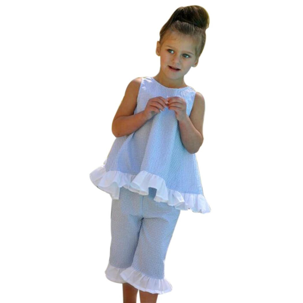 Summer 2PCS Kids Baby Girl Cute Bow Vest Tops Shorts Pants Clothes Outfits Set