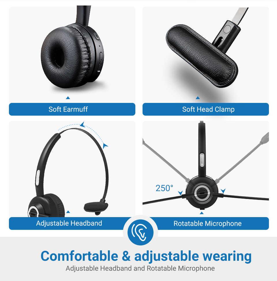 Langsdom H3 zestaw słuchawkowy Bluetooth 5.0 zestaw słuchawkowy bezprzewodowy kierowca ciężarówki słuchawki bez użycia rąk otrzymać telefon zwrotny od słuchawki z HD mikrofon do telefonu biuro Skype