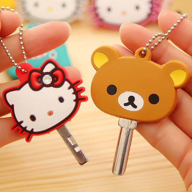 2PCS Kawaii Cartoon Hello Kitty Silicon Key Caps Covers Keys Keychain Case Shell Novelty Gift Keyring Sets Toy Action