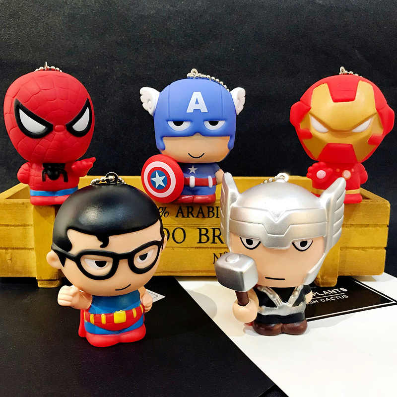 Hot New Pop Toys Keychain Marvel Captain America Iron Man Groot Key Ring Kids Wonder Women Key Chain Bag Pendant Jewelry
