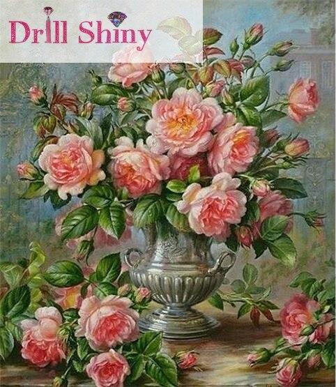Hot Sale New 5d Diy Diamond Embroidery Chrysanthemum Vase Painting