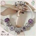 Boa Qualidade de Venda Quente DIY Roxo SeriesStyle 100% 925 Reais de Prata Charm Bracelet