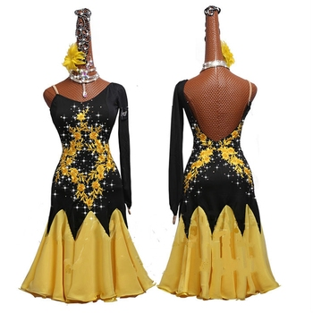 Competition Lady Latin Dancing Dresses with Accessories Single Shoulder Skirt Female Stage Professional Chacha Ballroom Garments