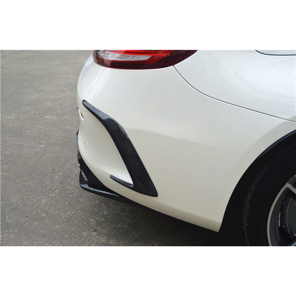 C Class Carbon Fiber /FRP Black Rear Bumper Trims Side Vents Spoiler for Mercedes Benz W205 C63 AMG C200 C260 C300 Coupe 15-17 fit for mercedes benz c w205 c180l c200l c63 amg carbon fiber rear spoiler rear wing