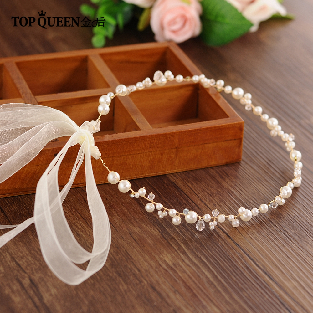 TOPQUEEN Golden Wedding Headband Crystal Pearls Wedding Hair Accessories Jewelled Hair Band Wedding Headpieces For Bride HP03-G
