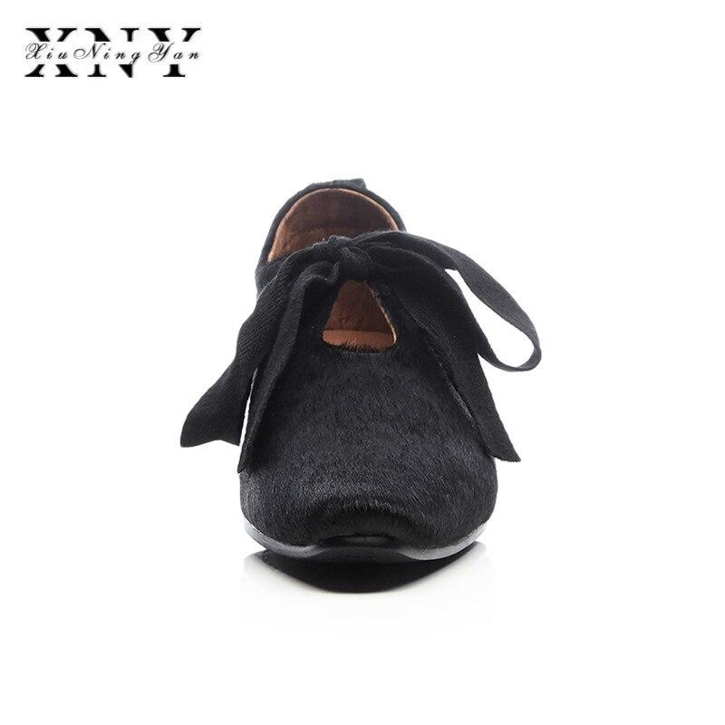 XIUNINGYAN más el tamaño de las mujeres de crin encaje up Flats Oxfords marca diseñador vestido cuadrado mujer zapatos cómodos zapatos mujer - 3