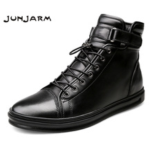 JUNJARM Handmade Leather Men Snow Boots Winter Lace Up Buckle Furry Ankle Keep Warm Flats Big Size 38-48