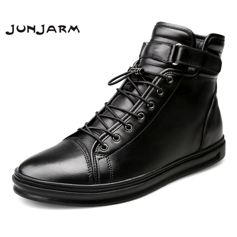 JUNJARM Handmade Leather Men Snow Boots Winter Lace Up Buckle Furry Men Ankle Boots Keep Warm Flats Boots Men Big Size 38 48