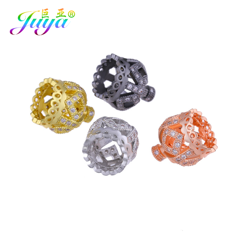 Juya DIY Tassels Jewelry Findings Gold/Silver Crown Bead Caps Accessories For Women Handmade Tassels Earrings Jewelry Making