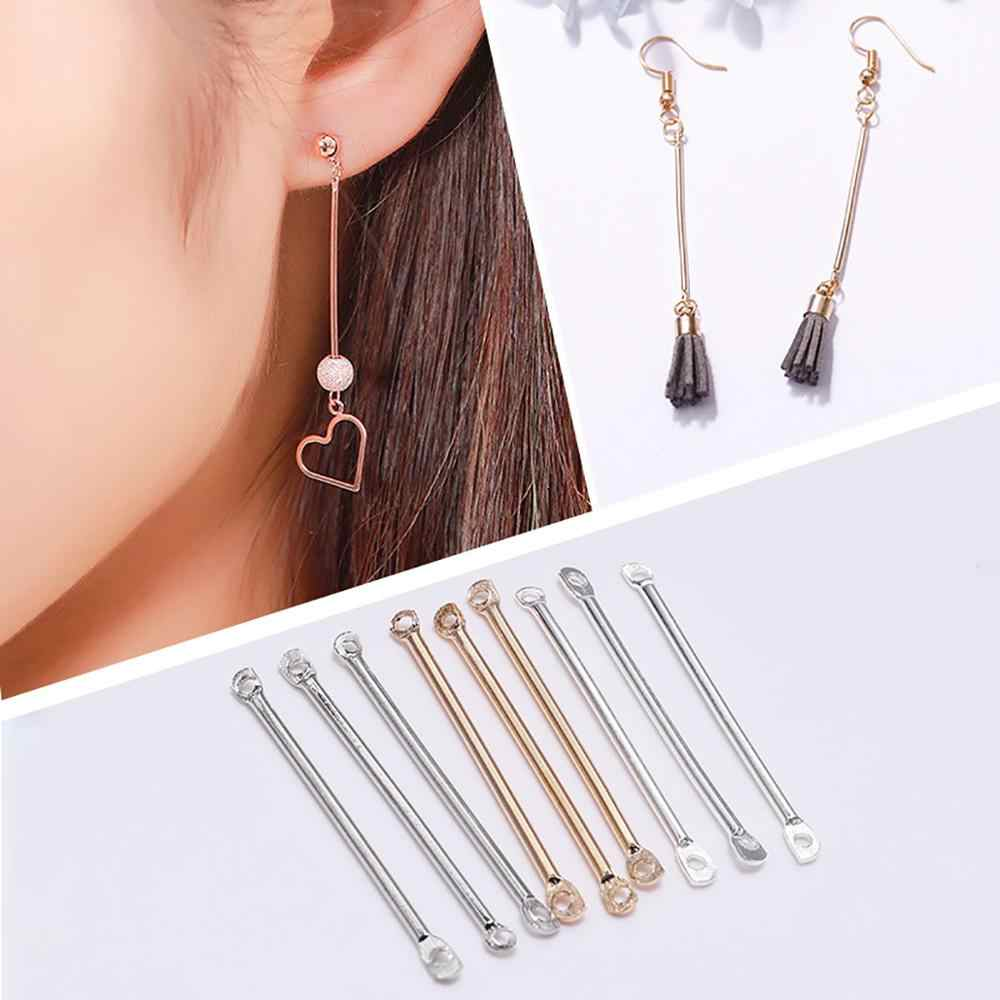 50pcs 15 20 25 35 40mm Gold Silver Double Cylinder Bar Earrings Connecting For Jewelry Making Earring Pins Findings DIY Supplies