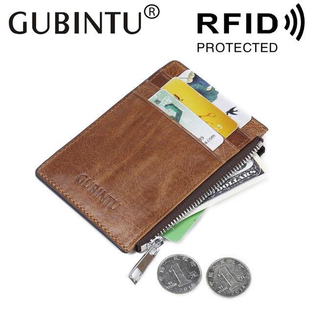 ea9f10b325b GUBINTU Buitenlandse Antimagnetic RFID Bank Cards Set Lederen Bruin Multi  Functie Rits Portemonnee ID Kaarthouder Portemonnee