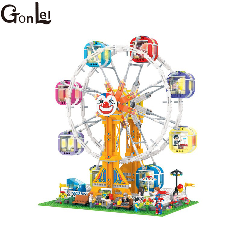 GonLeI 1506pcs City Series Girl Friends Modern Paradise Ferris wheel With Lighting series Building Block Toys Christmas gift7036 the trouble with paradise