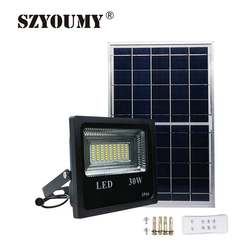 SZYOUMY 50W 100W Solar Flood Light Double Color Outdoor Garden Security Wall Solar Powered LED Flood Light Remote ControllerSZYOUMY 50W 100W Solar Flood Light Double Color Outdoor Garden Security Wall Solar Powered LED Flood Light Remote Controller