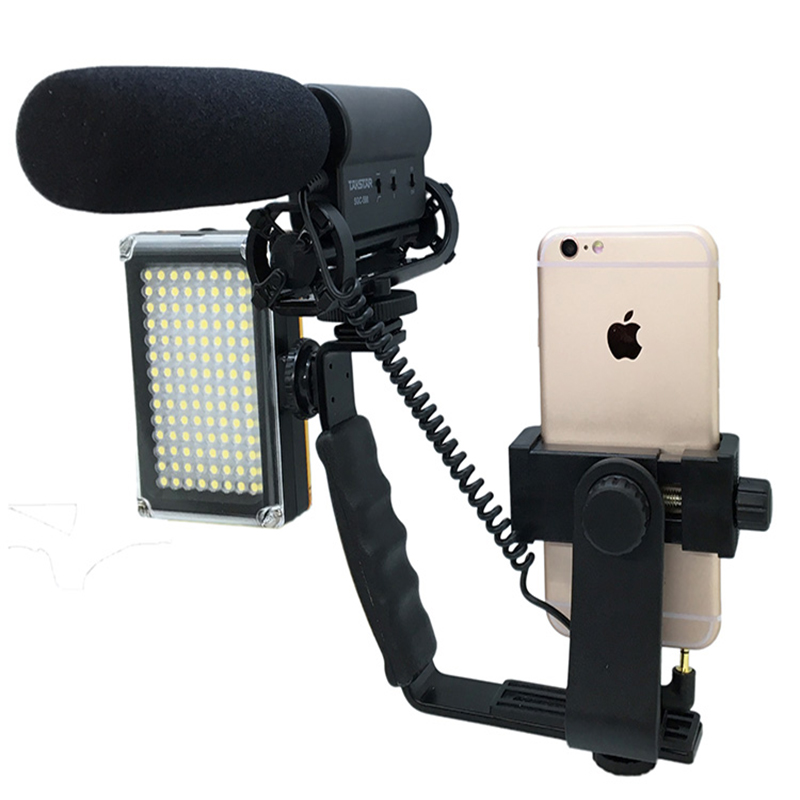 Smartphone Handheld Bracket For Iphone X 8 7 6S Samsung Cell Phone Micro Film Shooting Microphone Flash Lamp Camera Holder Mount