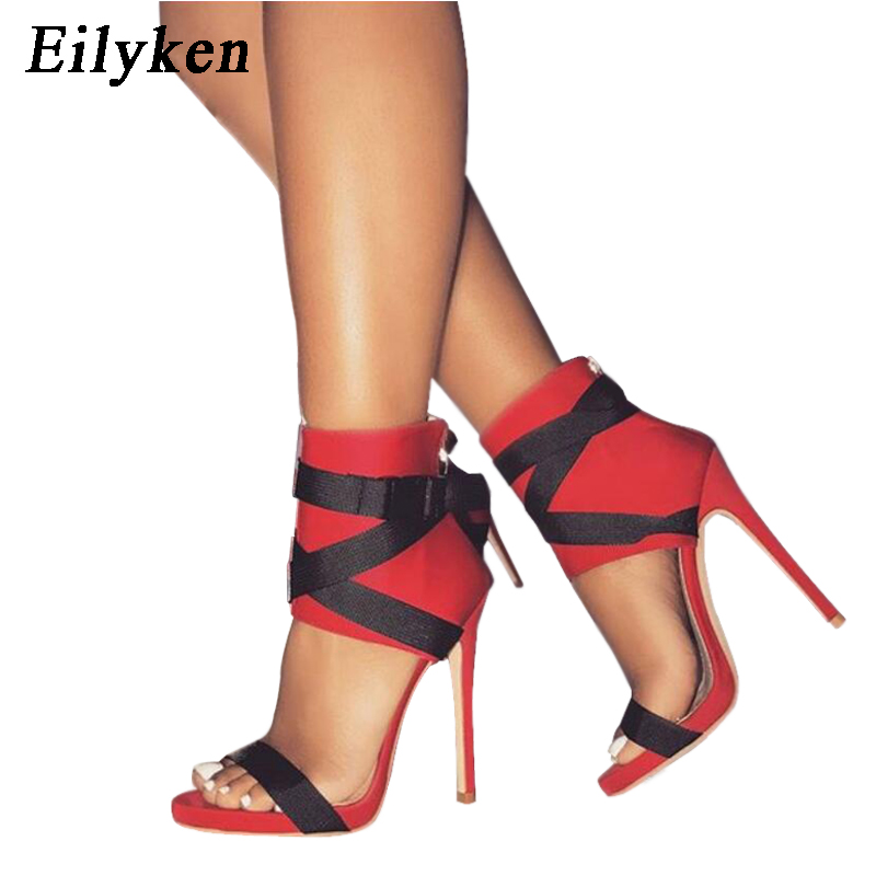 Eilyken 2020 New Summer Women Sandals Pumps Buckle Strap Women <font><b>Sexy</b></font> Party Red Wedding shoes Black White RED image