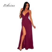 Echoine PartyLong Dress Women Spaghetti Straps Ruffles Backless Lace Up Maxi High Split Evening Slim Robe Elegant Woman Clothes