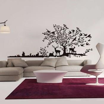 Новое поступление дерево виниловая наклейка на стену яркий дизайн наклейка с изображением растений декоративный виниловый для спальни Съе...