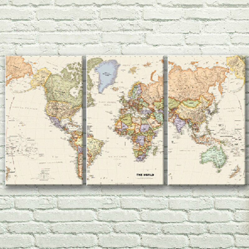 3pcs/set Three Panels world map poster famous canvas painting no ...