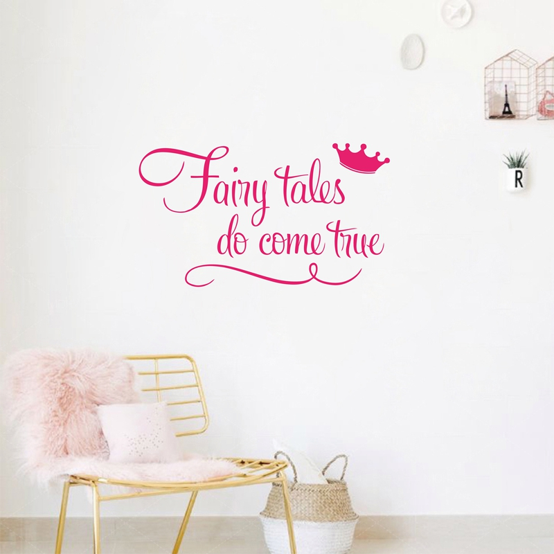 Princess With Crown Wall Quote Decal Stickers Fairy Tales Do