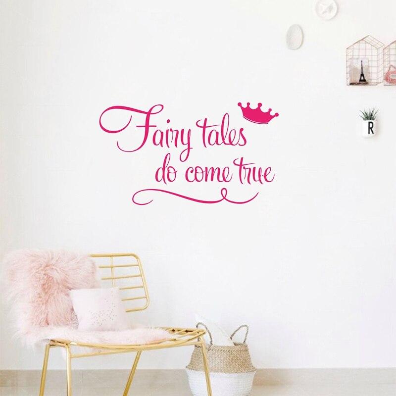 ツ)_/¯Princess with crown wall quote decal stickers - Fairy tales Do ...