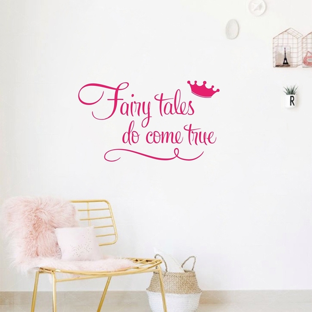 Princess With Crown Wall Quote Decal Stickers Fairy Tales Do Come