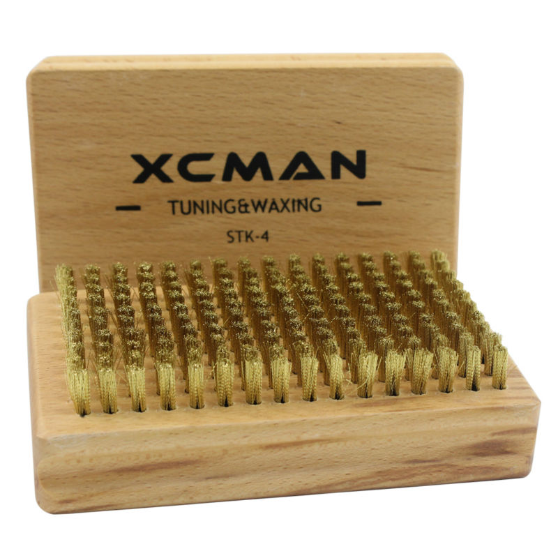 XCMAN Ski Snowboard Nordic Ski Waxing Brush With Nature Beech Wood And Premium Bristle,Brass Nylon,Horsehiar